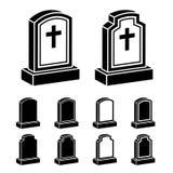3d tombstone cross black symbol Stock Image