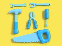 Tools set square composition group top view yellow background minimal 3d rendering,craft-technician-engineer tools concept cart royalty free illustration