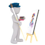 3d toon artist painting picture on canvas Royalty Free Stock Photography