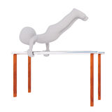 3d toon athlete on parallel bars. 3d toon athlete exercising on parallel bars, white background Stock Image