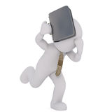 3d toon businessman running with briefcase. 3d toon businessman in tie running with briefcase, white background Stock Photos