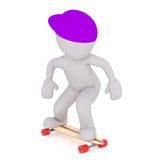 3d toon in cap skateboarding Royalty Free Stock Photography