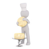 3d toon chef with wheels of cheese Royalty Free Stock Photos