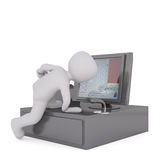 3d toon climbing on cash till register. 3d toon character climbing on cash till register, white background Stock Photo
