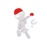 3d toon figure in Santa hat with ball and magnets. High angle view of 3d toon figure in Santa hat playing with ball and magnets Stock Photography