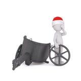 3d toon figure in Santa hat with broken chariot Stock Photo