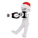 3d toon figure in Santa hat with ray guns on white. Full body portrait of 3d toon figure in Santa hat with ray guns on white Royalty Free Stock Images