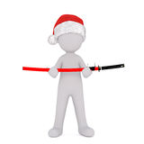 3d toon figure in Santa hat with Samurai sword. Full body portrait of 3d toon figure in Santa hat with Samurai sword in hands, white background Royalty Free Stock Images