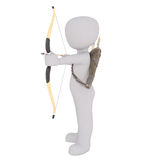 3d toon firing bow and arrow. Full body 3d toon archer firing bow and arrow with quiver on back, white background Royalty Free Stock Photos
