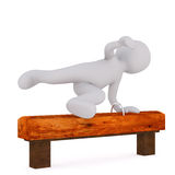 3d toon jumping over athletic horse bench. White background Stock Photos