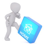 3d toon kicking large blue home button Royalty Free Stock Images