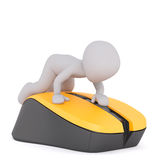 3d toon leaning on yellow and black object Royalty Free Stock Images