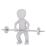 3d toon lifting barbell on white. Full body 3d toon lifting barbell on white background Royalty Free Stock Image