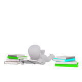 3d toon lying on ground reading book Royalty Free Stock Photography