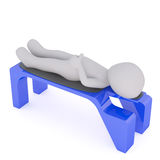 3d toon lying on plastic bench Stock Photo