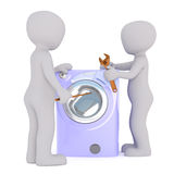 3d toon mechanics mending washing machine. Two 3d toon mechanics with wrench and tools mending washing machine, white background stock illustration