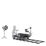 3d toon moving cinema camera on track. 3d toon figure moving cinema camera on trolley along track, white background Royalty Free Stock Photography