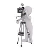 3d toon photographer with camera and tripod. 3d toon photographer taking picture with camera and tripod, white background Stock Image