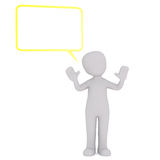 3d toon with raised arms and speech box Stock Photography