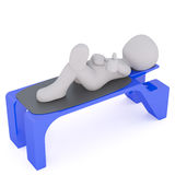 3d toon relaxing on blue bench. Elevated view of 3d toon character relaxing on blue plastic bench, white background Royalty Free Stock Photos