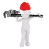 3d toon in Santa hat carrying large wrench. 3d toon in Santa hat carrying large adjustable wrench on white background Stock Photo