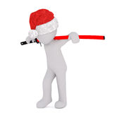 3d toon in Santa hat carrying Samurai sword Royalty Free Stock Image