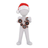 3d toon in Santa hat with cogs and gears. Full body 3d toon in Santa hat with set of cogs and gears on white background Stock Photo