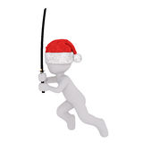 3d toon in Santa hat fighting with Samurai sword Stock Photos