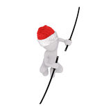 3d toon in Santa hat fighting with Samurai swords Royalty Free Stock Image