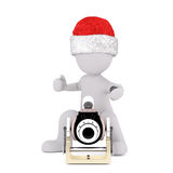 3d toon in Santa hat firing antique cannon. On white background Royalty Free Stock Photography