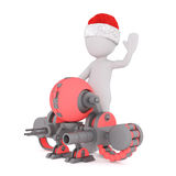 3d toon in Santa hat with futuristic weapon. Full body 3d toon in Santa hat with futuristic weapon on white Stock Photography