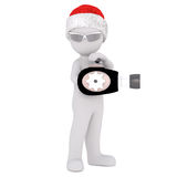3d toon in Santa hat playing with ray gun. Pointing to side on white Royalty Free Stock Photo