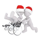 3d toon in Santa hat pushing patient in wheelchair Stock Image