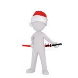 3d toon in Santa hat with Samurai sword. Full body portrait of 3d toon in Santa hat with Samurai sword on white background vector illustration