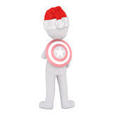 3d toon in Santa hat with superhero target on back. Rear view of 3d toon in Santa hat with superhero target on back, white background Royalty Free Stock Photos