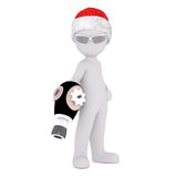 3d toon in shades with ray gun and Santa hat. On white Stock Image