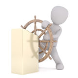 3d toon steering wooden ships wheel Royalty Free Stock Photos