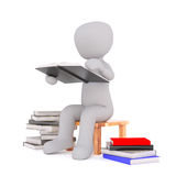 3d toon student sat with stacks of books Royalty Free Stock Photography