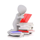 3d toon studing with pile of books. 3d toon figure kneeling by pile of books reading open red one Stock Photo