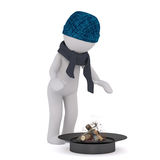 3d toon in woolly hat warming by fire. 3d toon chacter in woolly hat and scarf warming by fire, white background Stock Photography