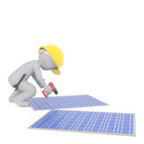 3d toon worker fixing blue solar panels Royalty Free Stock Photos