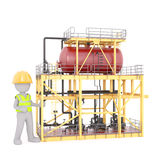 3d toon worker next to factory appliance unit Royalty Free Stock Photos