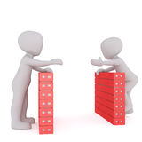 3d toon workers talking over filing cabinets Royalty Free Stock Photos