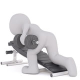 3d toon working out with dumbbells. And resting on weight bench, white background Stock Photo