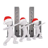 3d toons in Santa hats dancing by disco spreakers. Three full body 3d toons in Santa hats dancing in front of disco speakers, white background Stock Images