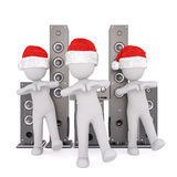 3d toons in Santa hats dancing by disco spreakers. Three full body 3d toons in Santa hats dancing in front of disco speakers, white background Stock Image