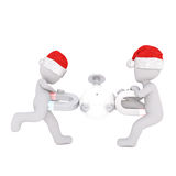 3d toons in Santa hats playing with magnets. 3d toons in Santa hats playing with ball and horseshoe magnets on white Royalty Free Stock Images