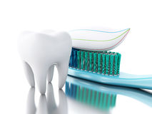 3D tooth with toothbrush and toothpaste. Royalty Free Stock Image