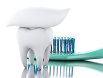 3D tooth with toothbrush and toothpaste. Stock Photography