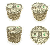 3D Top Icon accumulated dollars. 3D Icon Design Series. Stock Photography